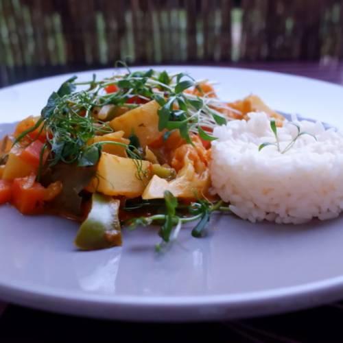 Micropousses Pois verts et Coriandre sur curry de légumes